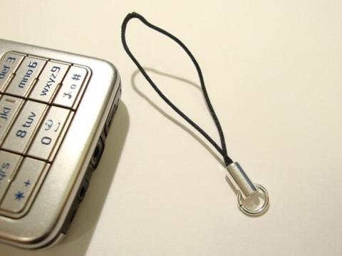 Kännykkäkorupidike + rengas musta 6 cm (3 kpl/pss)