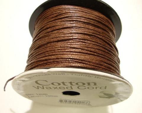 Puuvillanauha vahattu ruskea 1 mm (m-erä 1 m)