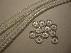 Tsekkiläinen lasihelmi kirkas rondelli 6 x 2,5 mm (10 g = n. 70 kpl)