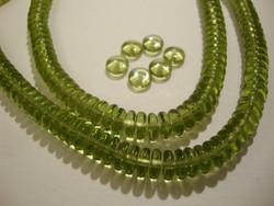 Tsekkiläinen lasihelmi oliivin vihreä rondelli 6 x 2,5 mm (10 g = n. 70 kpl)