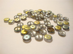 Tsekkiläinen lasihelmi hopea vitrail rondelli 6 x 2,5 mm (10 G = n. 85 kpl)