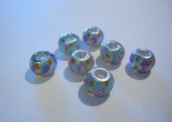 Pandora style -helmi pinkki / vaalea sininen 14 x 9 mm