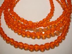 Tsekkiläinen fasettihiottu lasihelmi pyöreä oranssi 5 mm (n. 100/nauha)