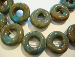 Keramiikkahelmi turkoosi/vaalean ruskea donitsi 21 mm (nauhassa 11 kpl)