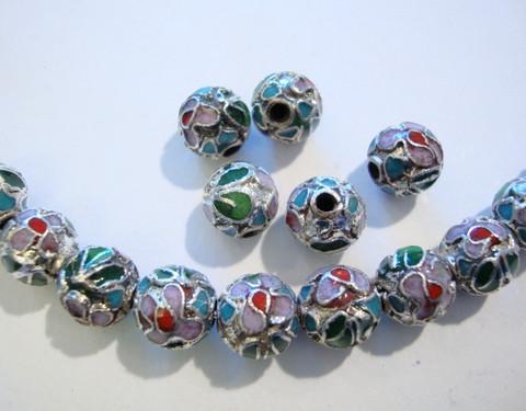 Cloisonne-helmi hopea/monisävy pyöreä 8 mm (5 kpl/pss)