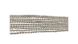 Makeanvedenhelmi 3,5-4mm soikea valkoinen (n. 70 helmeä/ nauha)