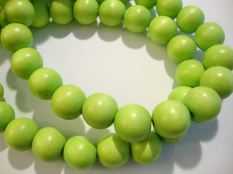 Puuhelmi vaalea vihreä/limen vihreä pyöreä 12 mm (n. 36 kpl/nauha)