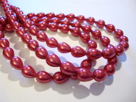 Helmiäislasihelmi vadelman punainen 9 x 7 mm (20/pss)