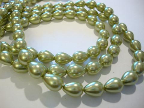 Helmiäislasihelmi oliivin vihreä 9 x 7 mm (20/pss)