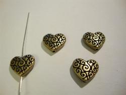 Metallihelmi sydän pronssi 11 mm (2 kpl/pss)