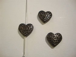 TierraCast Metallihelmi Sydän musta 11 mm (2/pss)