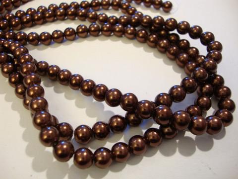 Helmiäislasihelmi suklaan ruskea 6 mm (n. 36/nauha)