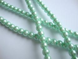 Helmiäislasihelmi mintun vihreä 8 mm (n.28 kpl/nauha)