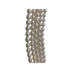 AAA Makeanvedenhelmi valkoinen soikea n. 6 - 7 mm (n. 47 - 52/nauha)
