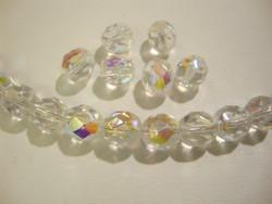 Tsekkiläinen fasettihiottu lasihelmi pyöreä kirkas AB 8 mm (20/pss)