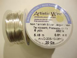 Beadalon Artistic Wire -metallilanka tummumaton hopeoitu 20 Gauge = 0,81 mm (5,5 m/kela)