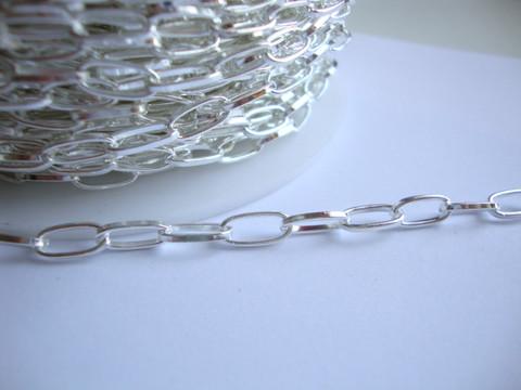 Ketju ovaali lenkki hopeoitu 10 x 4,5 mm (m-erä 1 metri)