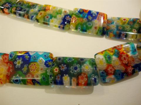 Millefiori lasihelmi Multicolor suorakaide 23 x 12 mm (2/pss)