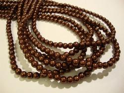 Helmiäislasihelmi suklaan ruskea 4 mm (n. 114 /nauha)