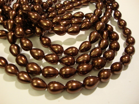 Helmiäislasihelmi suklaan ruskea 9 x 7 mm (20/pss)
