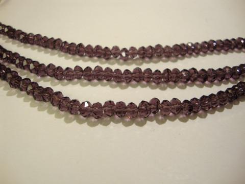 Kristallihelmi violetti rondelli 3 x 4 mm (n.50/nauha)