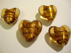 Lamppuhelmi ruskea (kulta) raidallinen / folio sydän 20 mm