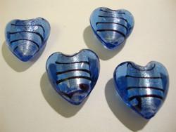 Lamppuhelmi sininen raidallinen / folio sydän 20 mm