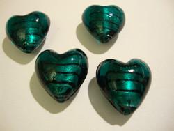 Lamppuhelmi Teal raidallinen / folio sydän 20 mm