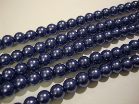 Helmiäislasihelmi tumma kanervan sininen 8 mm (n. 28/nauha)