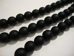 Huurrelasihelmi musta (Jet) pyöreä 8 mm (n. 25 kpl / nauha)