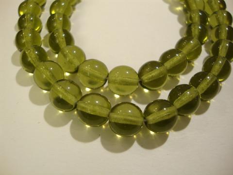Tsekkiläinen lasihelmi oliivin vihreä pyöreä 8 mm (20/pss)