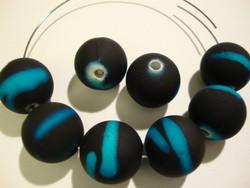 Akryylihelmi matta musta /turkoosi (rubberized) 14 mm (2/pss)