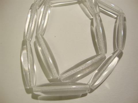 Tsekkiläinen lasihelmi kirkas ovaali 26 x 6 mm (15/nauha)