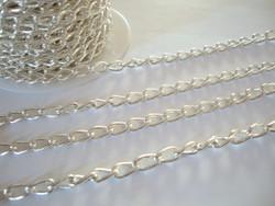 Ketju ovaali lenkki hopeoitu 11 x 6 mm (myyntierä metri)