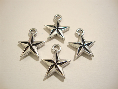 TierraCast Riipus Nautical Star (Pohjantähti) hopeoitu 18 x 15 mm