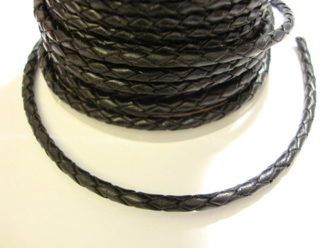 Nahkanauha punottu musta pyöreä 3 mm (m-erä 1 m)