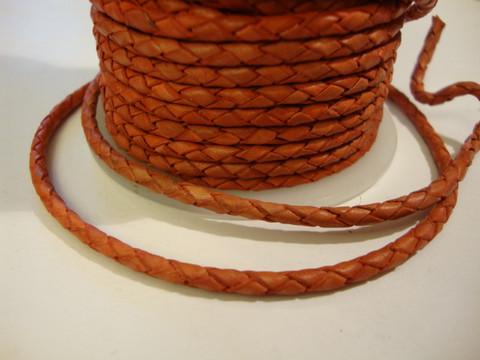 Nahkanauha punottu tummanpunainen pyöreä 3 mm (m-erä 1 m)