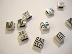 Metallihelmi nauhalle (slider) hopeoitu Spiraali sisämitta 6 x 2 mm