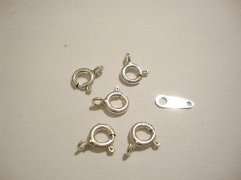 Rengaslukko 925 sterling hopea 5 mm (4 kpl/pss)