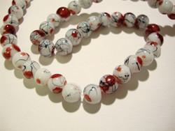 Lasihelmi valkoinen / punainen värjätty pyöreä 6 mm (20/pss)