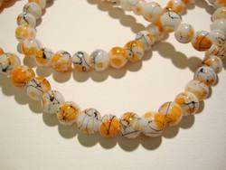 Lasihelmi valkoinen / oranssi värjätty pyöreä 6 mm (20/pss)