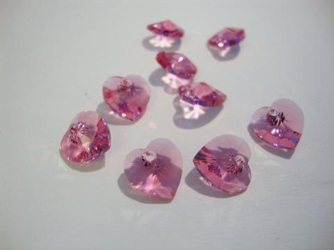 Swarovski kristalli sydänriipus vaalean punainen Rose 14 mm