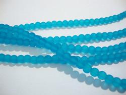 Huurrelasihelmi veden sininen pyöreä 4 mm (n. 50 kpl/nauha)