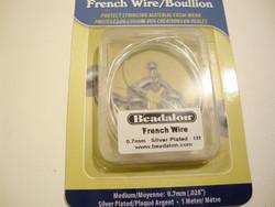 Beadalon koruspiraali eli French Wire hopeoitu, sisämitta 0,7 mm (1 m/pakk)