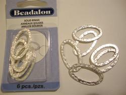 Beadalon Korulinkki / linkkirengas ovaali hopeoitu 30 x 17 mm (6 kpl/pss)