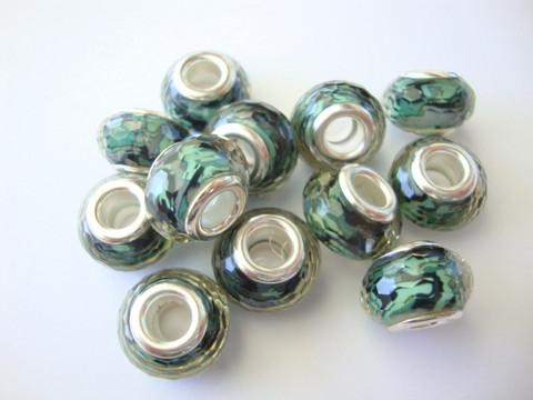Pandora style -helmi vihreäsävyinen fasetoitu hartsipinta 9 x 14 mm