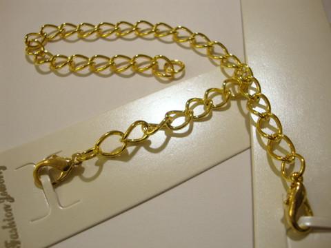 Ranneketju rapulukolla kullattu 20 cm / lenkkien koko n. 9 x 7 mm