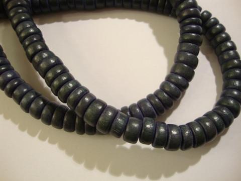 Puuhelmi tumma harmaa rondelli 8 mm (n.105 kpl/nauha)