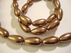 Helmiäislasihelmi suklaan ruskea pisara 17 x 8 mm (10/pss)