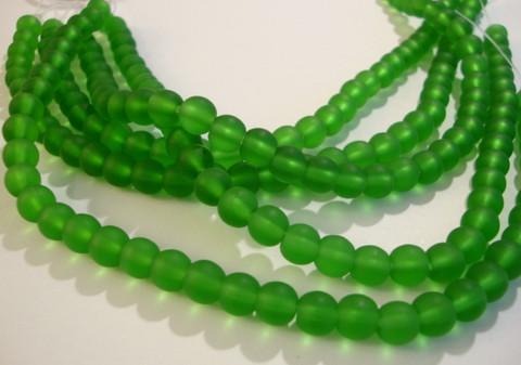 Huurrelasihelmi vihreä pyöreä 6 mm (n. 32 kpl/nauha)